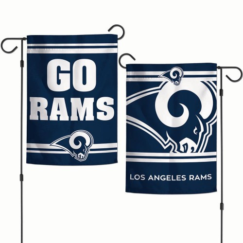 Los Angeles Rams Flag 12x18 Garden Style 2 Sided Slogan Design - Special Order