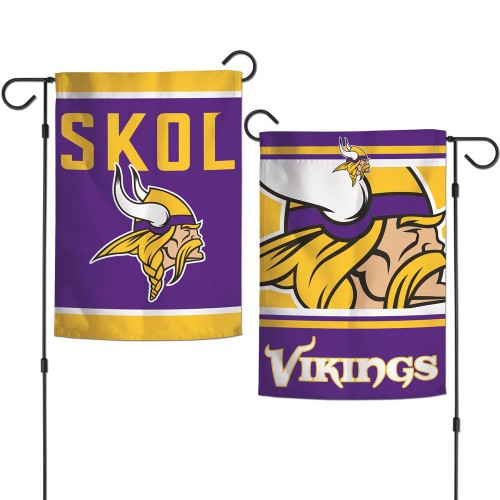 Minnesota Vikings Flag 12x18 Garden Style 2 Sided Slogan Design - Special Order
