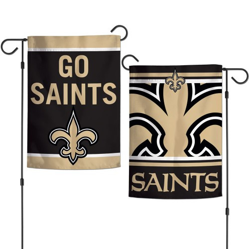 New Orleans Saints Flag 12x18 Garden Style 2 Sided Slogan Design - Special Order