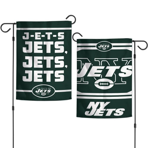 New York Jets Flag 12x18 Garden Style 2 Sided Slogan Design - Special Order
