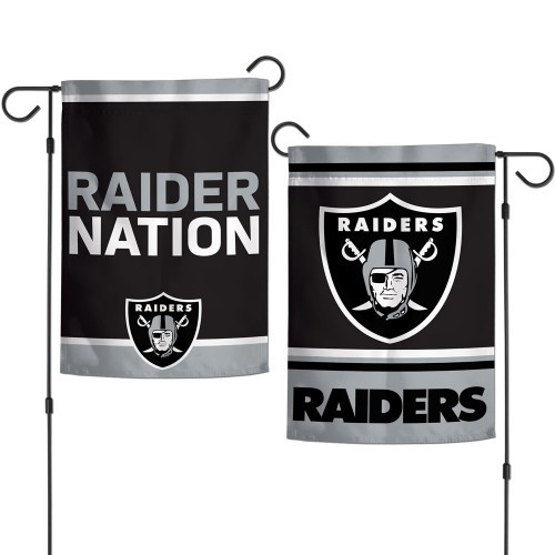Las Vegas Raiders Flag 12x18 Garden Style 2 Sided Slogan Design - Special Order