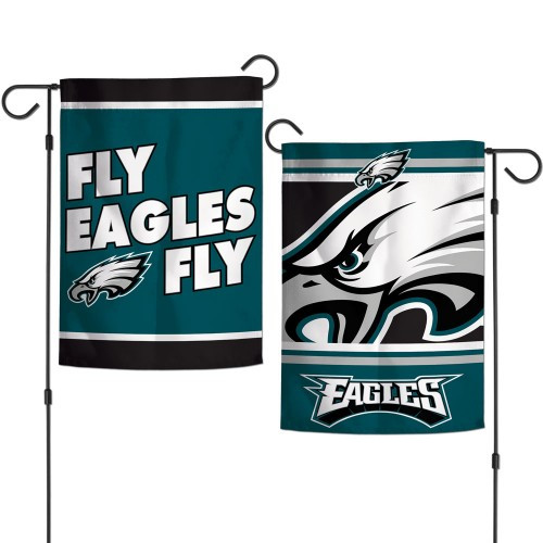 Philadelphia Eagles Flag 12x18 Garden Style 2 Sided Slogan Design - Special Order