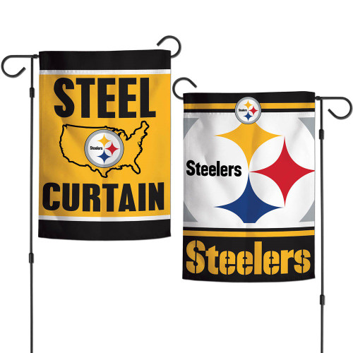 Pittsburgh Steelers Flag 12x18 Garden Style 2 Sided Slogan Design Special Order