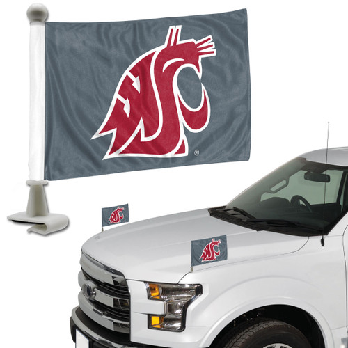 Washington State Cougars Flag Set 2 Piece Ambassador Style - Special Order