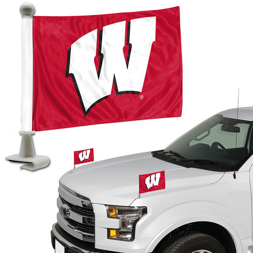 Wisconsin Badgers Flag Set 2 Piece Ambassador Style - Special Order