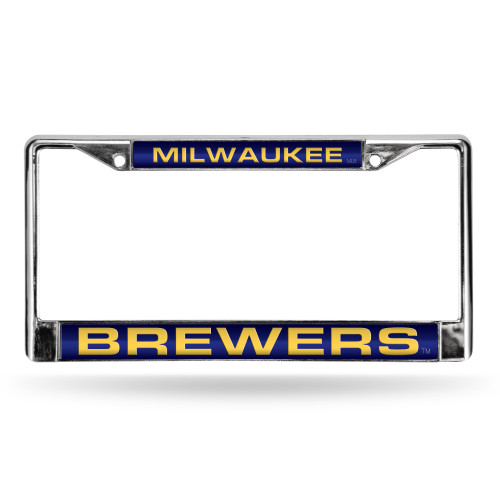 Milwaukee Brewers License Plate Frame Laser Cut Chrome Alternate Design Special Order