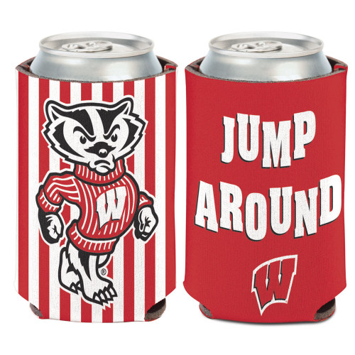 Wisconsin Badgers Can Cooler Slogan Design Special Order
