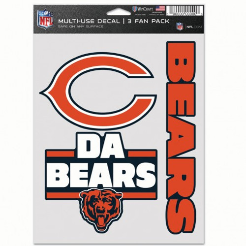 Chicago Bears Decal Multi Use Fan 3 Pack
