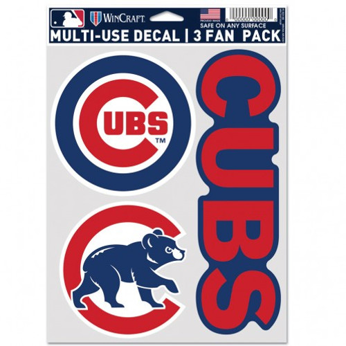 Chicago Cubs Decal Multi Use Fan 3 Pack
