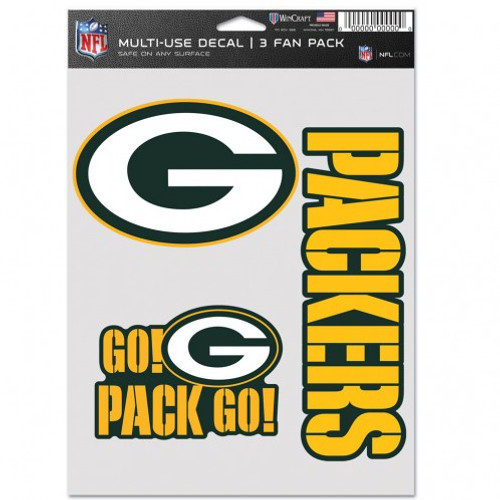 Green Bay Packers Decal Multi Use Fan 3 Pack