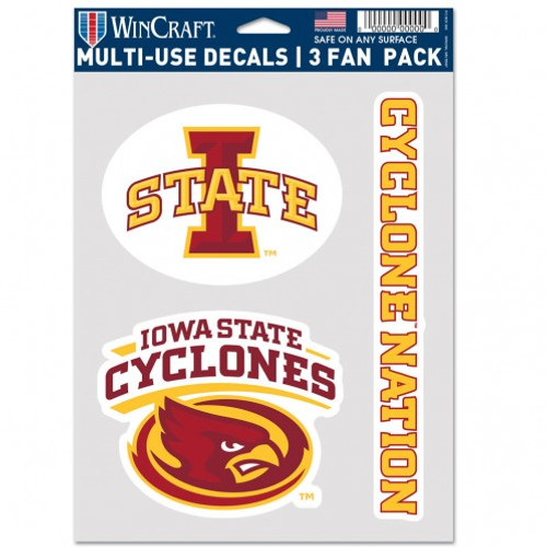 Iowa State Cyclones Decal Multi Use Fan 3 Pack Special Order