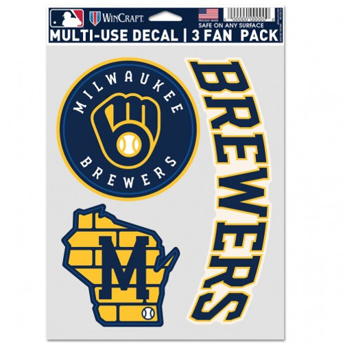 Milwaukee Brewers Decal Multi Use Fan 3 Pack