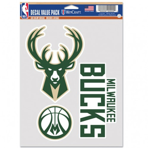 Milwaukee Bucks Decal Multi Use Fan 3 Pack Special Order