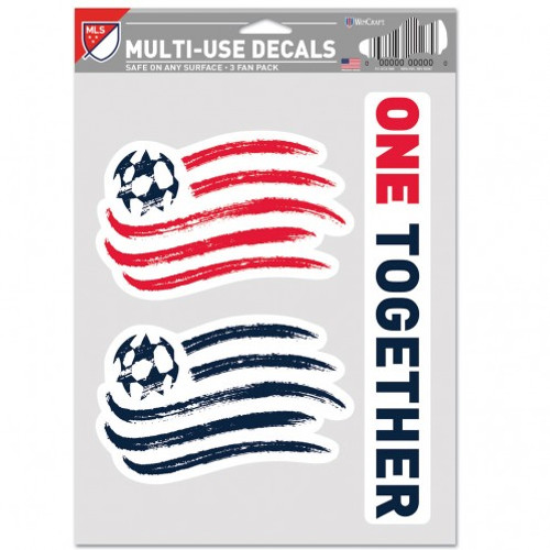 New England Revolution Decal Multi Use Fan 3 Pack Special Order