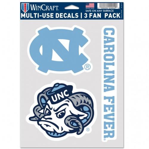 North Carolina Tar Heels Decal Multi Use Fan 3 Pack Special Order
