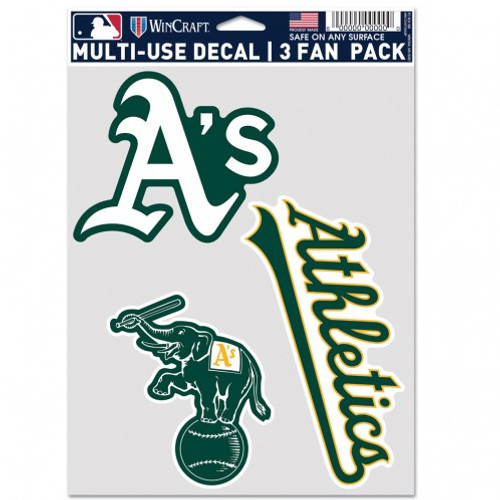 Oakland Athletics Decal Multi Use Fan 3 Pack Special Order