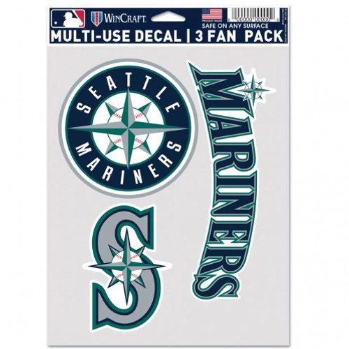 Seattle Mariners Decal Multi Use Fan 3 Pack Special Order