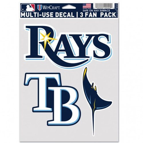 Tampa Bay Rays Decal Multi Use Fan 3 Pack Special Order