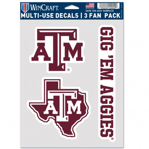 Texas A&M Aggies Decal Multi Use Fan 3 Pack Special Order