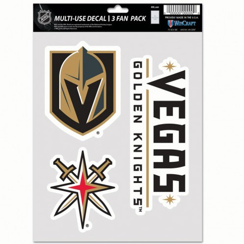 Vegas Golden Knights Decal Multi Use Fan 3 Pack