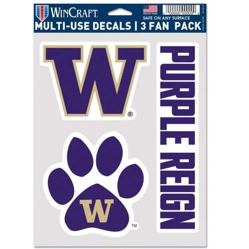 Washington Huskies Decal Multi Use Fan 3 Pack Special Order