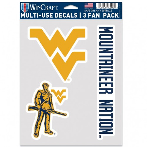 West Virginia Mountaineers Decal Multi Use Fan 3 Pack Special Order
