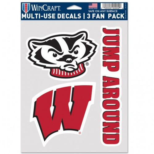 Wisconsin Badgers Decal Multi Use Fan 3 Pack Special Order