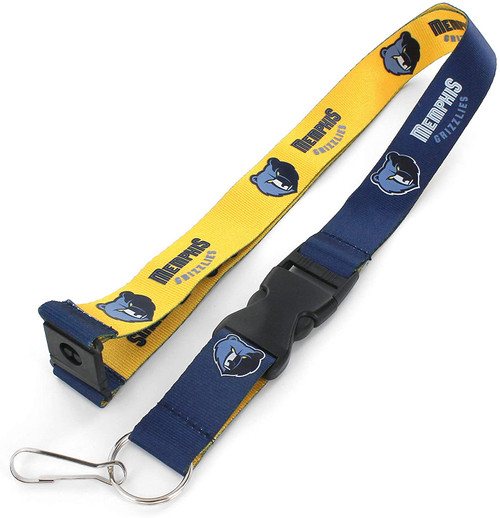 Memphis Grizzlies Lanyard Reversible Blue and Yellow Special Order