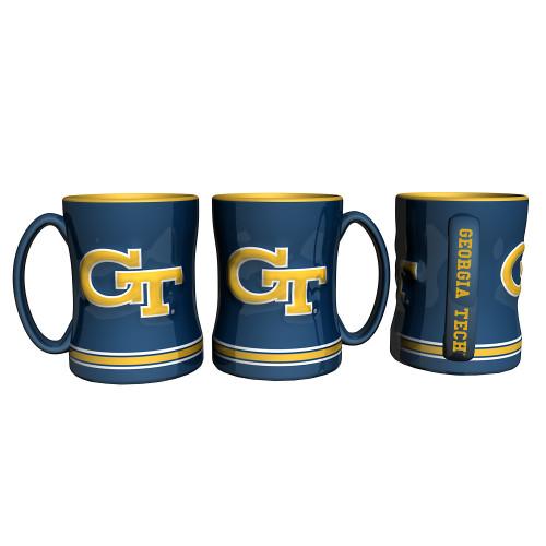 Georgia Tech Yellow Jackets Coffee Mug 14oz Sculpted Relief Alternate Design