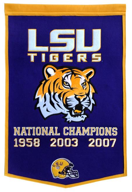 LSU Tigers Banner 24x36 Wool Dynasty 2007 Champ