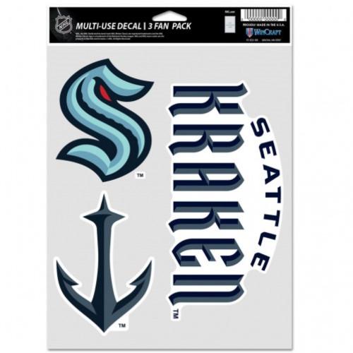 Seattle Kraken Decal Multi Use Fan 3 Pack