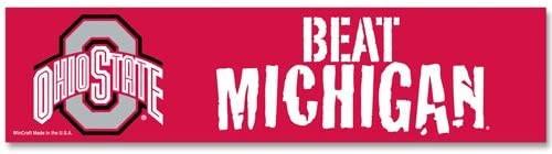 Ohio State Buckeyes Decal 3x12 Bumper Strip Style Beat Michigan Design