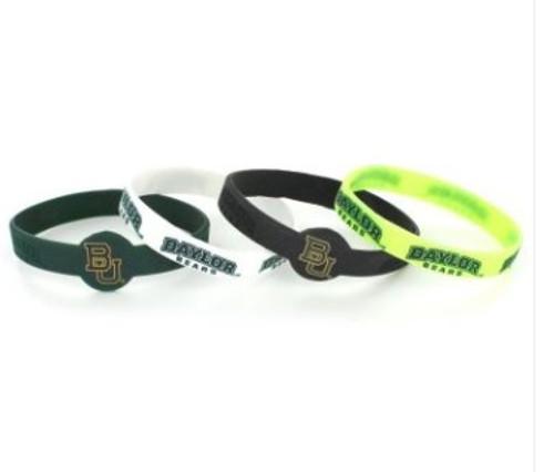Baylor Bears Bracelets 4 Pack Silicone Alternate Design Special Order