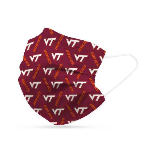 Virginia Tech Hokies Face Mask Disposable 6 Pack
