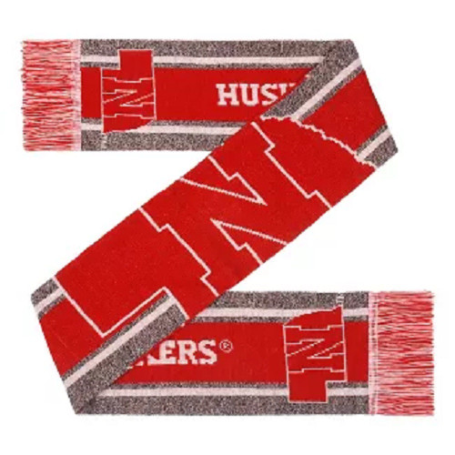 Nebraska Cornhuskers Scarf Big Logo Wordmark Gray