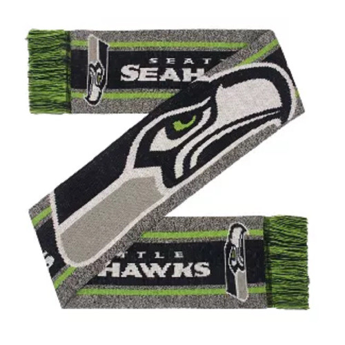 Seattle Seahawks Scarf Big Logo Wordmark Gray