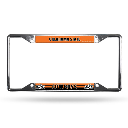 Oklahoma State Cowboys License Plate Frame Chrome EZ View Alternate Design