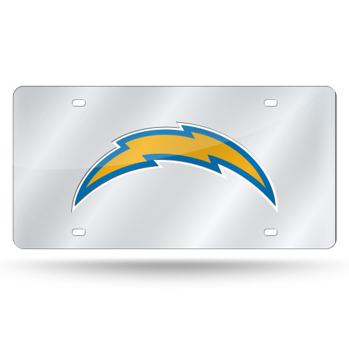 Los Angeles Chargers License Plate Laser Cut Silver Alternate Design