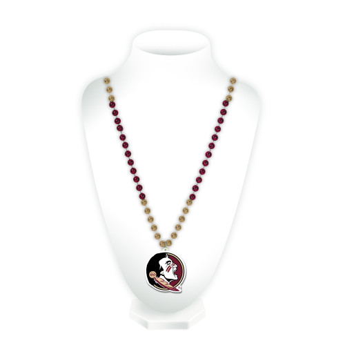 Florida State Seminoles Beads with Medallion Mardi Gras Style