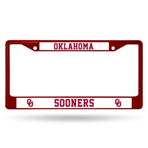 Oklahoma Sooners License Plate Frame Metal Maroon