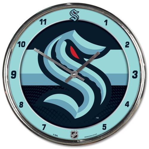 Seattle Kraken Clock Round Wall Style Chrome