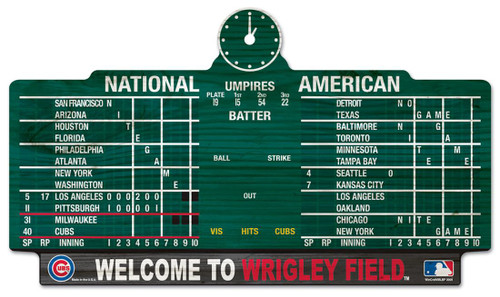Chicago Cubs Sign 11x17 Wood Scoreboard Design