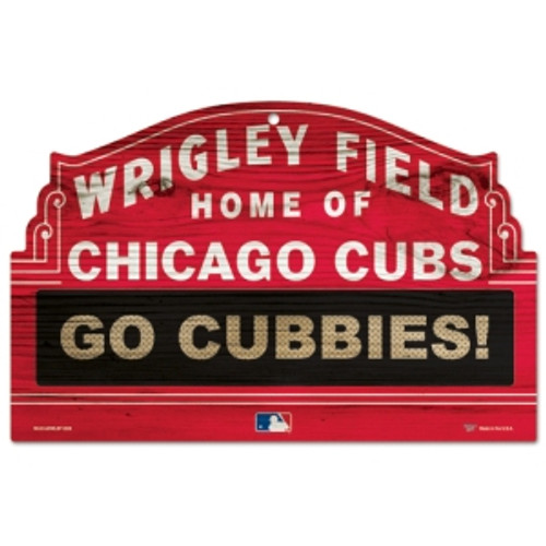 Chicago Cubs Sign 11x17 Wood Wrigley Field Design