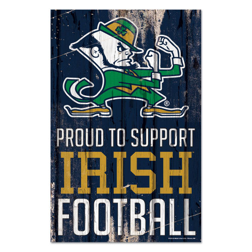 Notre Dame Fighting Irish Sign 11x17 Wood Proud to Support Design Leprechaun