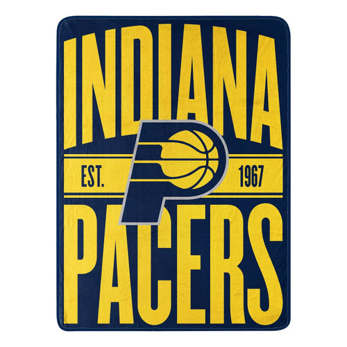 Indiana Pacers Blanket 46x60 Micro Raschel Clear Out Design Rolled Special Order