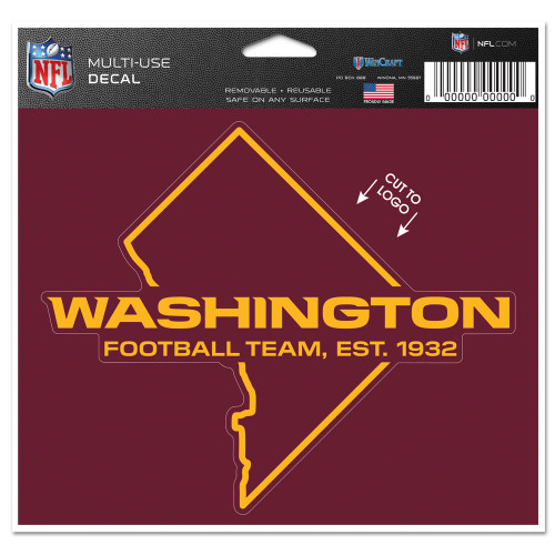 Washington Football Team Decal 5x6 Multi Use Color Cut to Logo Special Order