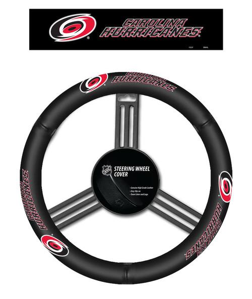 Carolina Hurricanes Steering Wheel Cover Leather CO