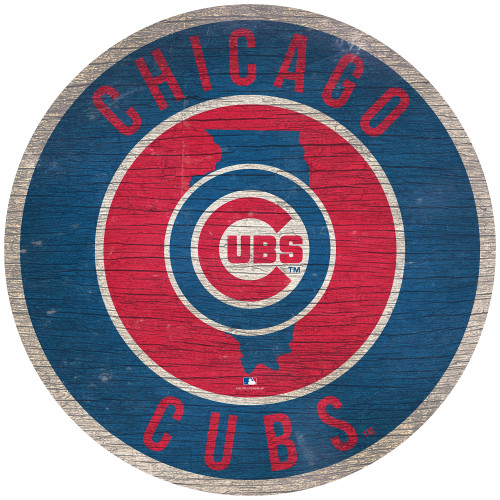 Chicago Cubs  Sign Wood 12 Inch Round State Design