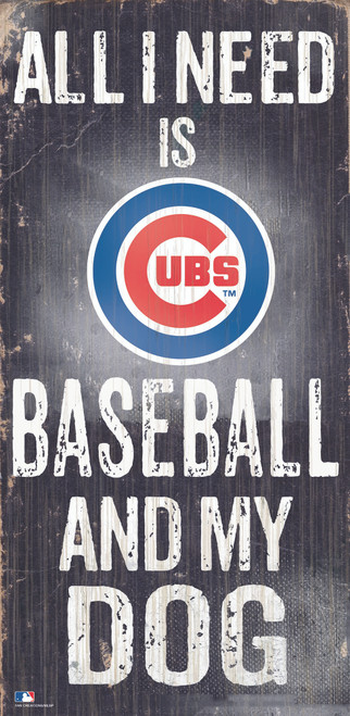 Chicago Cubs Sign Wood 6x12 Baseball and Dog Design