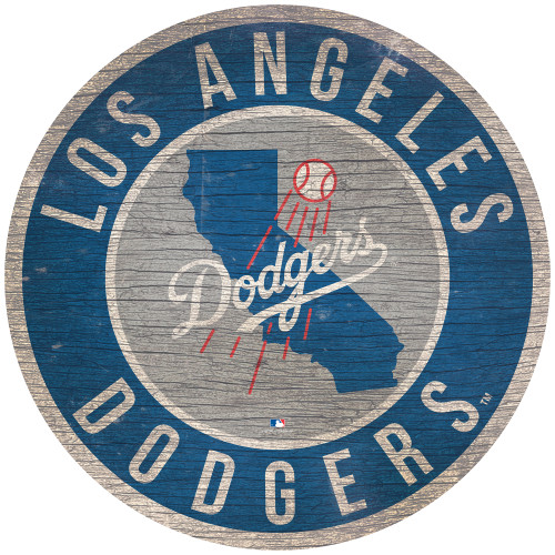 Los Angeles Dodgers Sign Wood 12 Inch Round State Design